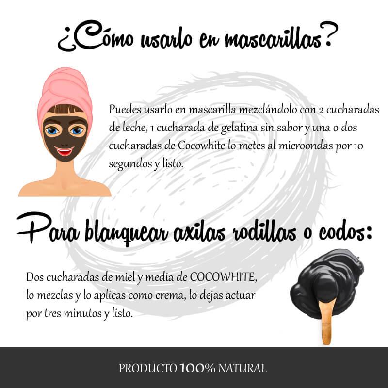 Coco White Con Carbón Activado 50 Gr Dumashe Tienda Virtual De Maquillaje